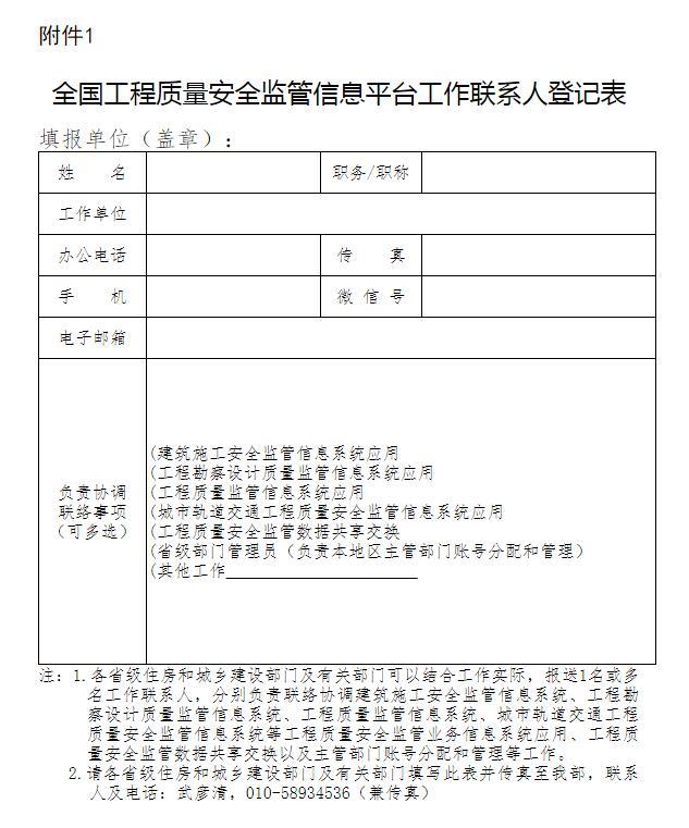 全国工程质量安全监管信息平台工作联系人登记表
